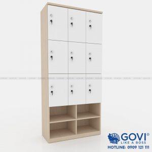 Tủ locker gỗ 9 cánh 3 khoang LKG9C3K-T-Kệ giày