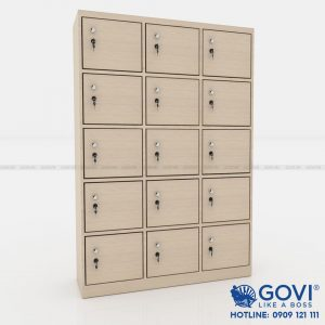 Tủ locker gỗ 15 cánh 3 khoang LKG15C3K