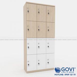 Tủ locker gỗ 12 cánh 3 khoang LKG12C3K-TN