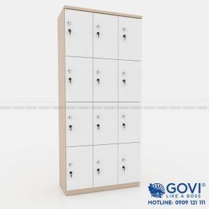 Tủ locker gỗ 12 cánh 3 khoang LKG12C3K-T