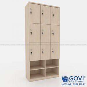 Tủ locker gỗ 9 cánh 3 khoang LKG9C3K-Kệ giày